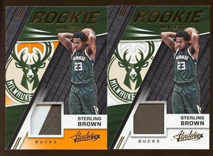 (2) Card Lot 2017-18 Absolute Rookie Materials Jersey/PATCH Sterling Brown RC