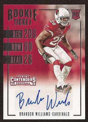 ET 2016 Panini Contenders #225 Brandon Williams AUTO CARDINALS