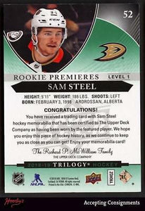 2018-19 Upper Deck Trilogy Green #52 Sam Steel JSY 316/499 JERSEY ROOKIE
