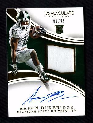 ET) 2016 Immaculate Collection Collegiate #131 Aaron Burbridge PATCH AUTO 81/99
