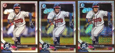 (3) Card Lot Ronald Acuna Rookie Card Lot Bowman & Bowman Chrome BRAVES RC