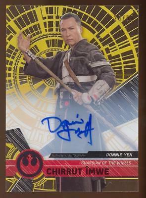Image of 2017 Topps Star Wars High Tek Gold Rainbow Foil Donnie Yen as Chirrut AUTO 26/50
