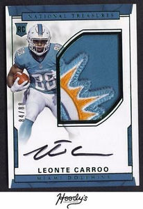 2016 National Treasures Leonte Carroo Green RPA LOGO PATCH AUTO 84/88 DOLPHIN RC