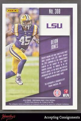 Image of 2016 Panini Contenders Draft Picks #308 Deion Jones Rookie Ticket AUTO RC