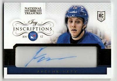 ZB) 2013-14 NATIONAL TREASURES HKY JESPER FAST RC INSCRIPTIONS AUTO RANGERS