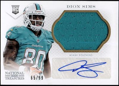 JC  2013 Panini National Treasures Rookie Signature Silver Dion Sims  #65/99