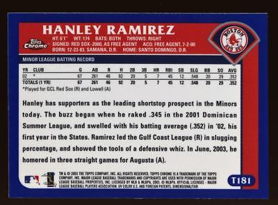 Image of 2003 Topps Chrome Traded #T181 Hanley Ramirez FY ROOKIE RC RED SOX