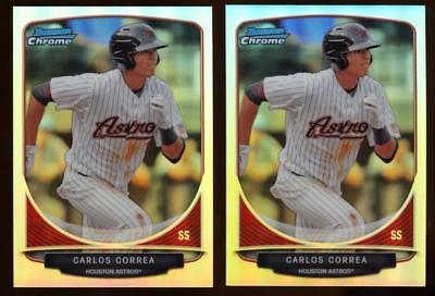 Image of (2) 2013 Bowman Chrome Cream of the Crop Mini Refractor Carlos Correa Rookie Lot