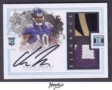 2016 Impeccable Elegance Rookie Chris Moore Helmet & PATCH AUTO 10/15 RAVENS RC