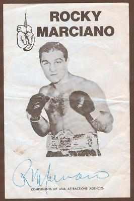 ROCKY MARCIANO AUTOGRAPH AUTO FIGHT SUMMARY JSA CERT CREASING LIGHT STAIN