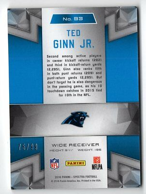 Image of ET 2016 Panini Spectra #93 Ted Ginn Jr. 75/99 PANTHERS