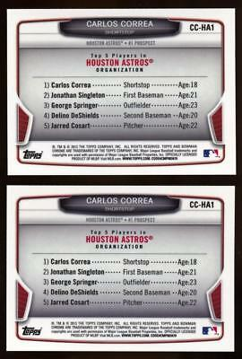 (2) 2013 Bowman Chrome Cream of the Crop Mini Refractor Carlos Correa Rookie Lot