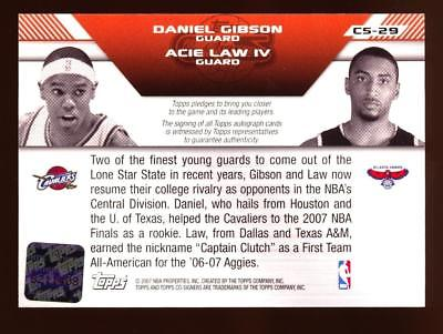 Image of 2007-08 Topps Co-Signers Dual Autographs #CS29 Daniel Gibson & Acie Law AUTO