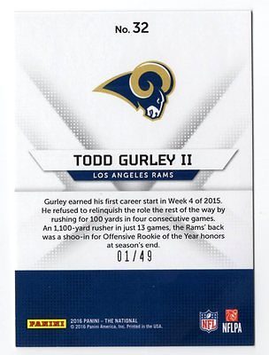 Image of 2016 Panini National Convention Diamond Awe #32 Todd Gurley 01/49 FIRST