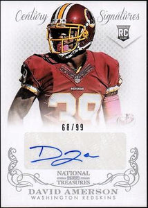 JC 	2013 Panini National Treasures #269 David Amerson AU RC #68/99