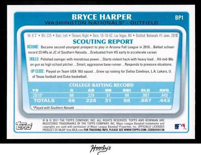 Image of 2011 Bowman Prospects #BP1A Bryce Harper NATIONALS RC