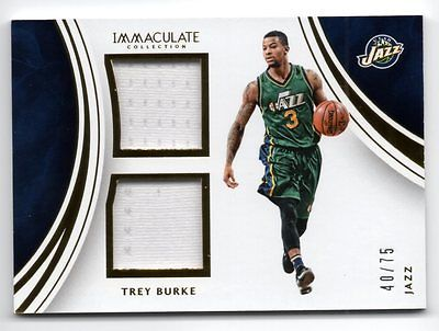 2015-16 Immaculate Collection Dual Memorabilia #37 Trey Burke Jersey 40/75