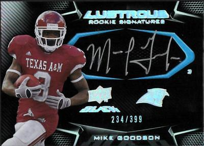 ZB) 2009 UD BLACK MIKE GOODSON #106 LUSTROUS RC AUTO #234/399 PANTHERS