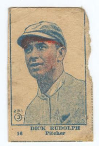 1920 W516 BASEBALL STRIP CARD HAND CUT DICK RUDOLPH BOSTON BRAVES FAIR-GOOD