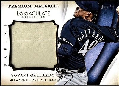Image of JC 2014 Immaculate Collection Premium Material #22 Yovani Gallardo Jersey /99