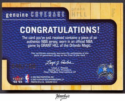 Image of 2002-03 Fleer Genuine Coverage Gold #8 Grant Hill Jersey Relic 046/100 MAGIC