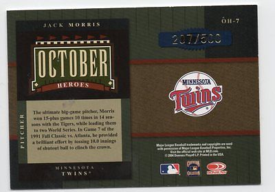 Image of 2004 Donruss World Series October Heroes #7 Jack Morris /500 Twins