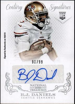 JC 	2013 Panini National Treasures #249 B.J. Daniels AU RC #91/99