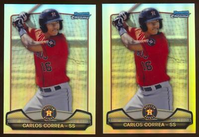 Image of (2) 2013 Bowman Chrome Rising Ranks Mini Refractor Carlos Correa Rookie Card Lot