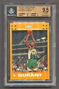2007-08 Topps Chrome Refractors Orange Kevin Durant 108/199 BGS 9.5 Gem Mint RC