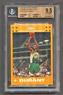 Image of 2007-08 Topps Chrome Refractors Orange Kevin Durant 108/199 BGS 9.5 Gem Mint RC