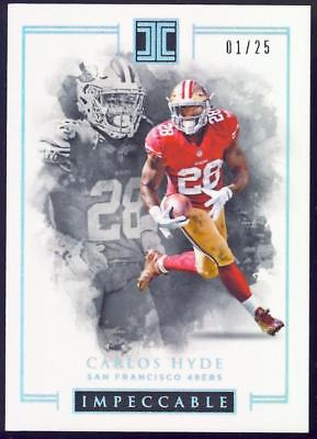 2016 Panini Impeccable Silver #82 Carlos Hyde #01/25 FIRST ONE 49R'S