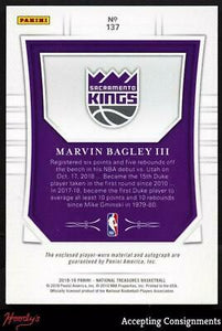 2018-19 National Treasures Gold Marvin Bagley III RPA AUTO 3-Color PATCH RC 4/10