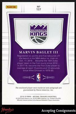 Image of 2018-19 National Treasures Gold Marvin Bagley III RPA AUTO 3-Color PATCH RC 4/10