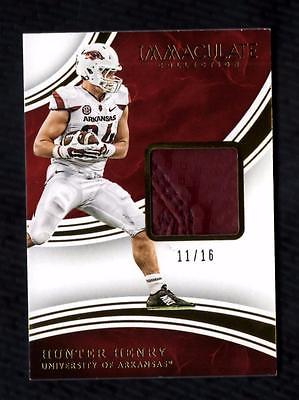 ET) 2016 Immaculate Collegiate Hunter Henry PATCH Relic 11/16 RC ARKANSAS