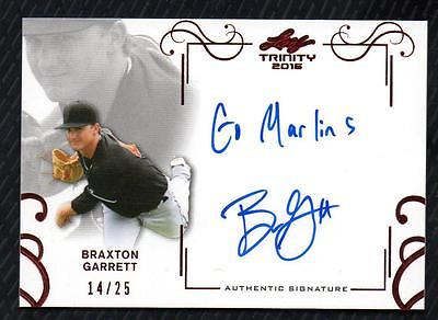 ET) 2016 Leaf Trinity Red Spectrum #ABG1 Braxton Garrett Inscribed AUTO 14/25