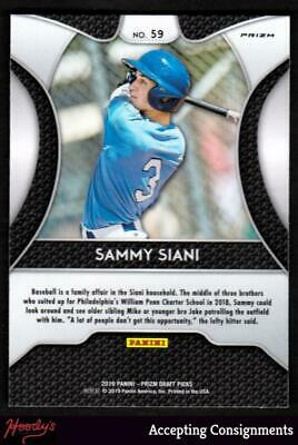 Image of 2019 Panini Prizm Draft Picks Prizms Blue #59 Sammy Siani ROOKIE PIRATES