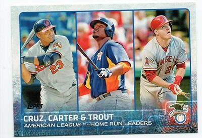 2015 Topps #98 Mike Trout/Nelson Cruz/Miguel Cabrera League Leaders
