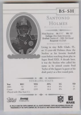 2006 BOWMAN STERLING SANTONIO HOLMES #BS-SH RC ROOKIE JERSEY RELIC STEELERS