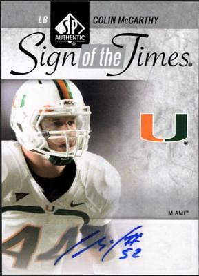 2011 SP AUTHENTIC FB COLIN MCCARTHY SIGN OF THE TIMES AUTO MIAMI