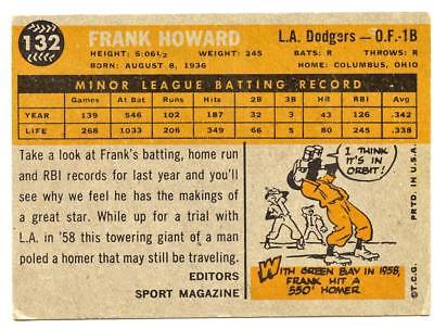 1960 TOPPS BASEBALL FRANK HOWARD #132 RC ROOKIE VG-EX DODGERS HBV $25