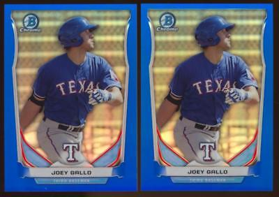 (2) 14 Bowman Chrome Draft Prospect Blue Refractor Joey Gallo Rookie /399 Lot RC