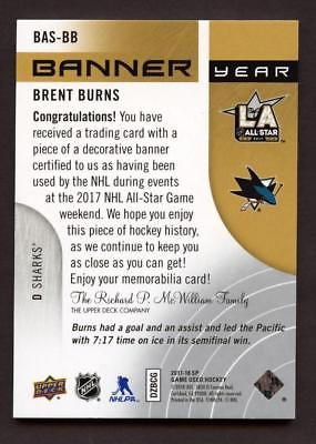 Image of 017-18 SP Game Used Banner Year All Star '17 #BASBB Brent Burns Relic SHARKS