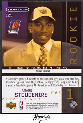Image of 2002-03 Upper Deck Ovation #125 Amare Stoudemire ROOKIE 1827/1999 RC