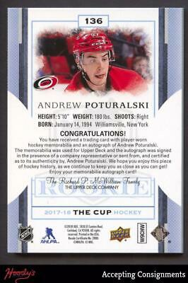 Image of 2017-18 The Cup #136 Andrew Poturalski 2 COLOR PATCH AUTO Autograph 221/249 RC