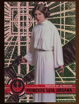 Image of 2017 Topps Star Wars High Tek Green Cube Diffractors Princess Leia Organa 06/10