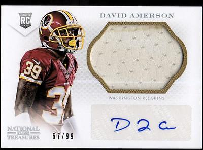 JC  	2013 Panini National Treasures #269 David Amerson AU RC #67/99