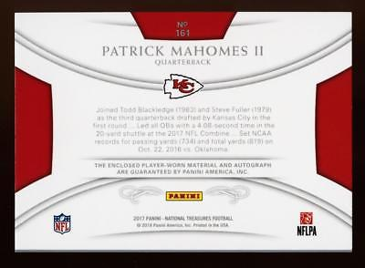 2017 National Treasures Holo Silver Patrick Mahomes II RPA PATCH AUTO 14/25 RC