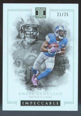 2016 PANINI IMPECCABLE FB AMEER ABDULLAH #52 SILVER #21/25 DETROIT LIONS