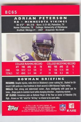 Image of 2007 BOWMAN CHROME ADRIAN PETERSON #BC65 RC ROOKIE MINNESOTA VIKINGS