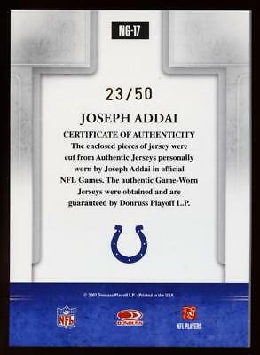 Image of 2007 Donruss Gridiron Gear Joseph Addai Dual 2-Color PATCH Relic 23/50 COLTS RC